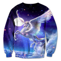 Wholesale Galaxy Crewneck Sweatshirts Men - Real USA Size Unicorn Galaxy Fashion 3D sweatshirt Crewneck all over print Plus Size fleece streetwear