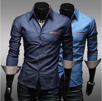 Wholesale Denim Shirts Leather - Free shipping men shirts men shirt slim fit Leather pocket washed cotton casual men cultivating long-sleeved denim shirt CN13S