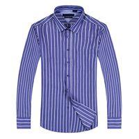 Wholesale Men Dress Shirts New Style - 2017 new style 100% Cotton Quality Solid Shirt Men Casual big shirt Shirts striped Oxford Dress Shirt Camisa Masculina