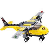 ladrillos de construcción de plástico juguetes al por mayor-¡Juguete educativo para niños! 110 unids / set Avión Bloques de Construcción Kits Aviones Plástico Ladrillos de Construcción