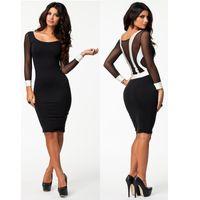 Wholesale Lady S Stockings - USA STOCK S M L XL XXL Plus Size 2015 New Spring Long Sleeve Black Bodycon Dress OL Lady Elegant Pencil Casual Dress 9029