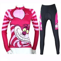 Wholesale Lycra Full Sleeve T Shirt - Cycling Jersey Women Anime Cheshire cat Cycling Clothing Slim Lady T-shirt Cartoon Long Sleeve Cycling Clothes Jersey Sets