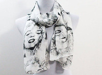 Marilyn Monroe Chiffon Scarf White and Black Marilyn Monroe Long Soft Scarf