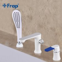 Wholesale Hand Paint Mixer - Frap Three-piece Bathtub Faucet Three-hole Separation Split White Spray Painting Hot and Cold Water Mixer with Hand Shower F1134