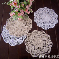 Wholesale Lace Table Pad - Free shipping12pic lot 30cm round ZAKKA design 2014 new lace doilies coaster fashion flower round pad vase mat for dinning table