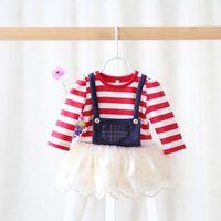 Wholesale Lace Denim Toddler Dress - Spring autumn new baby girls princess dress children denim splicing tulle stripe dress toddler kids stripe fake 2pcs long sleeve dress A0095