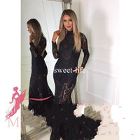 Wholesale green apple sexy lady for sale - Group buy Sexy Backless Black Full Lace Appliques Mermaid Evening Dresses High Collar Long Sleeve Sweep Train Illusion Ladies Dresses
