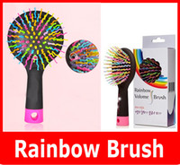Wholesale Volume Hair Styles - Wholesale Rainbow Volume Tangle Detangling Hair Brush Multi Color Magic Detangler Hair Styling Tool Hair Brush Comb With Mirror