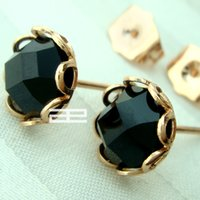 Wholesale 9ct Gold - 9K 9CT Rose GOLD Filled With Morion Crystal Stud Earrings E139B