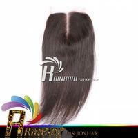 Wholesale Silk Top Closure Free Shipping - Free Shipping lace Top Silk Closure Brazilian Virgin Hair Straight bulk Hair Weave Bundles closure 4*4