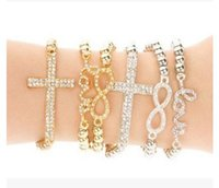 10PCS Atacado CHARM Cross / Infinity / Bar Beads Sideway Connector Bracelets Metal Beaded Jewelry