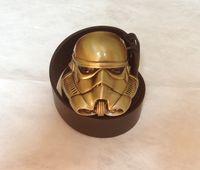 "Wholesale Stormtrooper Helmets - 3D Starwars Stormtrooper Helmet Bronze Color Belt Buckle And 1.5""PU Black Screw On Belt Native Style"