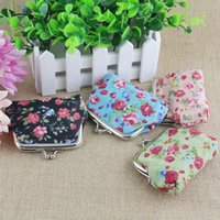 Wholesale Vintage Baby Fabric - Girls Vintage Flower Coin Purse Canvas Package Baby Girls Beautiful Mini Coin Bag Kids Printed Clutch Handbag 12pcs lot