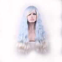 Wholesale Synthetic White Hair Bangs - WoodFestival ombre wig with bangs women blue gradient white harajuku long corn fluffy curly hair wigs ladies kinky curly synthetic fiber wig