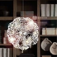 Wholesale minimalist k9 crystal pendant for sale - 47CM European Luxury Creative Dandelion LED Crystal Chandeliers Modern Minimalist K9 Crystal Pendant Light Living Room dropLights
