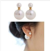 Crystal, Rhinestone black pearl earrings - Retail hot Sales Jewelry new fashion Double Pearl earring Sided size pearl earrings air pocket for women gift