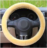 Wholesale new leather steering wheel cover - Free Shipping New Winter Warm Soft Plush Car Steering Wheel Cover Auto Leather Coat 3 Color Optional