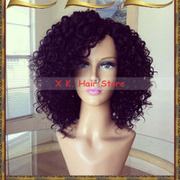 Wholesale big virgin black lady for sale - Remy Brazilian Hair Short Curly Lace Front Wigs Glueless Virgin Hair Short Full Lace Human Hair Wigs Baby Hairs Around