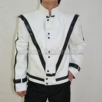 Wholesale Michael Jackson White Jacket - Fall-MJ Clothes Michael Jackson Thriller Costumes Men Singers Dancer Stage Wear Leather Jacket Outwear ! XXXS-3XL free shipping