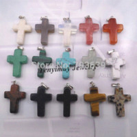 Wholesale Celtic Cross Necklaces For Cheap - Mixed Semi-precious Stone Cross Pendant For Necklace, Real Natural Stone Pendant 24pcs lot Wholesale Pendants Cheap Pendants