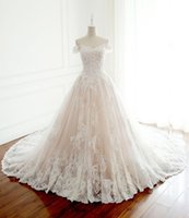 Wholesale wedding dress chapel length tulle train for sale - Group buy Off SHoulder Floor Length Applique Lace A Line Applique Wedding Dresses Custom Made Vintage Wedding Gowns