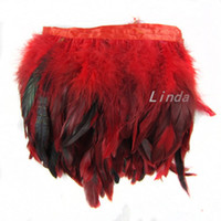 5-7 pollici / 12-18 cm 10 Yards Red Iridescent Gallo Coque Tail Feathers Plumes Trim Fringe Feathers Ribbon