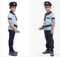 Wholesale Christmas Costumes For Teenage Boys - Retail Halloween Christmas Kids Boys Handsome Super X-men Cosplay Uniform Police Costumes for Children 4pcs set HC81