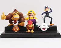 Wholesale Super Mario Figures Waluigi - hot sale Super Mario Bros Wario Waluigi Diddy Kong Goomba Ghost Boo Donkey kong Action Figure PVC Dolls Room decorations 6pcs set wholesale