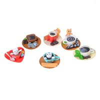 Al por mayor-Mini Miniatura Gatito Mascota Café Cat Cup Cat Figura Cake Home Dollhouse Decoración color al azar