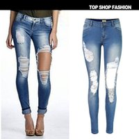 Wholesale Hot Low Hip Jeans - 2016 Hot Low Waist High Elastic Skinny Women Jeans Slim Stretch Fashion Street Sexy Hip Vintage Ripped Jeans Push Up Pantalon Femme XXL