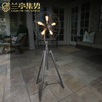 Wholesale Modern Floor Fans - Floor Lamp Modern Individuality Electric Fan Retro Style Iron Floor Lamp Living Room Bedroom Photostudio Floor Light New