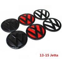 vw jetta rozeti toptan satış-Yeni VW logosu için Amblem Araba Ön Izgara Rozeti ve Arka Kapak Arka Kapı Rozet 13-15 Jetta Styling için fit