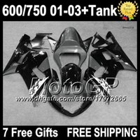Wholesale Gsxr Grey - 7gifts+Tank For SUZUKI 01 02 03 Grey black GSXR600 3#276 GSXR750 GSXR 600 750 Glossy grey K1 01-03 GSX R600 R750 2001 2002 2003 Fairings