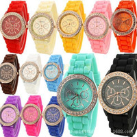 Wholesale Crystal Watch Silicone Band - Geneva New Crystal edge Jelly Watch Three circles Display Silicone Strap Band Candy Colors Unisex Men Women watch