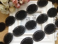 Wholesale Diy Accessories Handmade Materials - Black Venice Lace Trim for Crafts Water Soluble handmade lace decoration material DIY clothes accessories 10 yards Lot