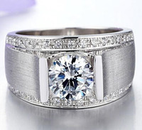 Wholesale Nscd Diamond Wedding Sets - Free Shipping Fine Wholesale 1ct NSCD Synthetic Diamond Rings For Men's 925 Sterling Silver Stamped Wedding Man Ring