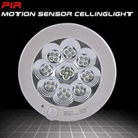 Wholesale Infrared Distance Sensors - Wholesale-New AC220V 8W white light pir infrared motion sensor ceiling light Detection distance 5-8m (ET091)