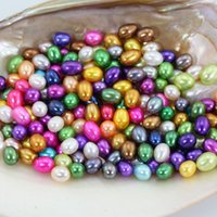 Wholesale Oval Pearl Beads Loose - 20pcs Lot Rice Colorful Loose Pearls Akoya Oyster Loose Dyed Pearls DIY Jewelry Making 6-7MM Genuine Real Pearl Beads FP047