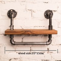 Vintage Retro BookShelf Iron Pipe Manmade Bookcase Wall Shelf Wood Bookcase 35 * 15cm loft -Z25