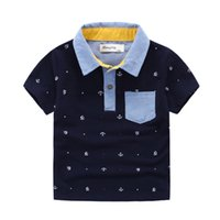 Wholesale Knitted Children Clothes - Hot! boys Polo shirts short sleeve quality Brand applique collar anchor pinrt cotton boy knitted Polos Children clothing Kids 3-8years