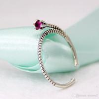 Wholesale Elegant Mum - 925 Silver Rings Purple zircon Design sense Elegant Beautiful flower Spiral design women girl Gift for mum girl friend lover