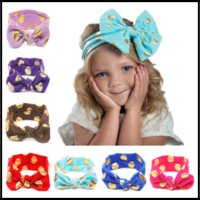 Горячие 12 цветов Bronzing Dots Hair Ribbons Kids Boutique Аксессуары для волос Baby Girls Headbands Christmas Birthday Gifts