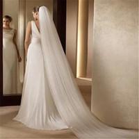 un nivel de velo de novia largo al por mayor-Bridal Veil Ivory White Cathedral Hermosa Coreana Elegante Elegante de Alta Calidad 3M de Largo Un Nivel Arrastrando Cristales Velo de Novia Con Peine