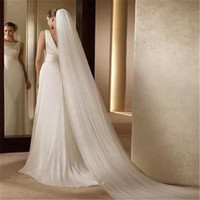 Wholesale Korean Wedding Veils - Bridal Veil Ivory White Cathedral Beautiful Korean Elegant Graceful High Quality 3M Long One Tier Trailing Crystals Wedding Veil With Comb