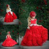 Wholesale vintage flower girls dresses resale online - Red Ruffles Flower Girl Dresses For Weddings Tutu Vintage Beach Child Kids Girls Pageant Gown For Birthday Party Graduation Communion