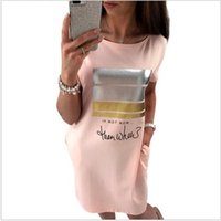 Wholesale Cute Club Shirts - Wholesale- 2017 New Summer Fashion Women Casual Cute Short Sleeve Letter Print Bronzing Dresses Loose Plus Size Long T Shirts Dress Vestido