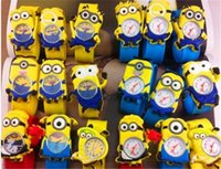 Wholesale Dad 3d Glasses - 3D Eye Despicable Me slap watch minion Precious Milk Dad Children Watches Slap Snap On Silicone Quartz Wrist Watch 50pcs