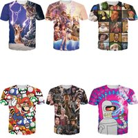 Wholesale Shirt 3d Mario - 3D Mall New Summer Unisex Harajuku Mini Mouse Duck Super Mario Rage Faces Walking Dead 3D Print T Shirts Hip Hop Short Sleeve FG1510