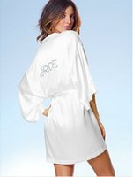 """Wholesale Sexy Silk Gowns Robes - White Bridal Dressing Gown  Kimono Bathrobes,4 Colors Satin Silk Wedding Bride Bridesmaid Robes""""BRIDE"""" Or DIY Graphic on Back"""