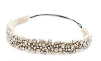 Wholesale Handmade Beaded Headbands - New Fashion Handmade Rhinestone Crystal Beaded Elastic Hair Band Hair Accessory Handmade Rhinestone Crystal Hair Band